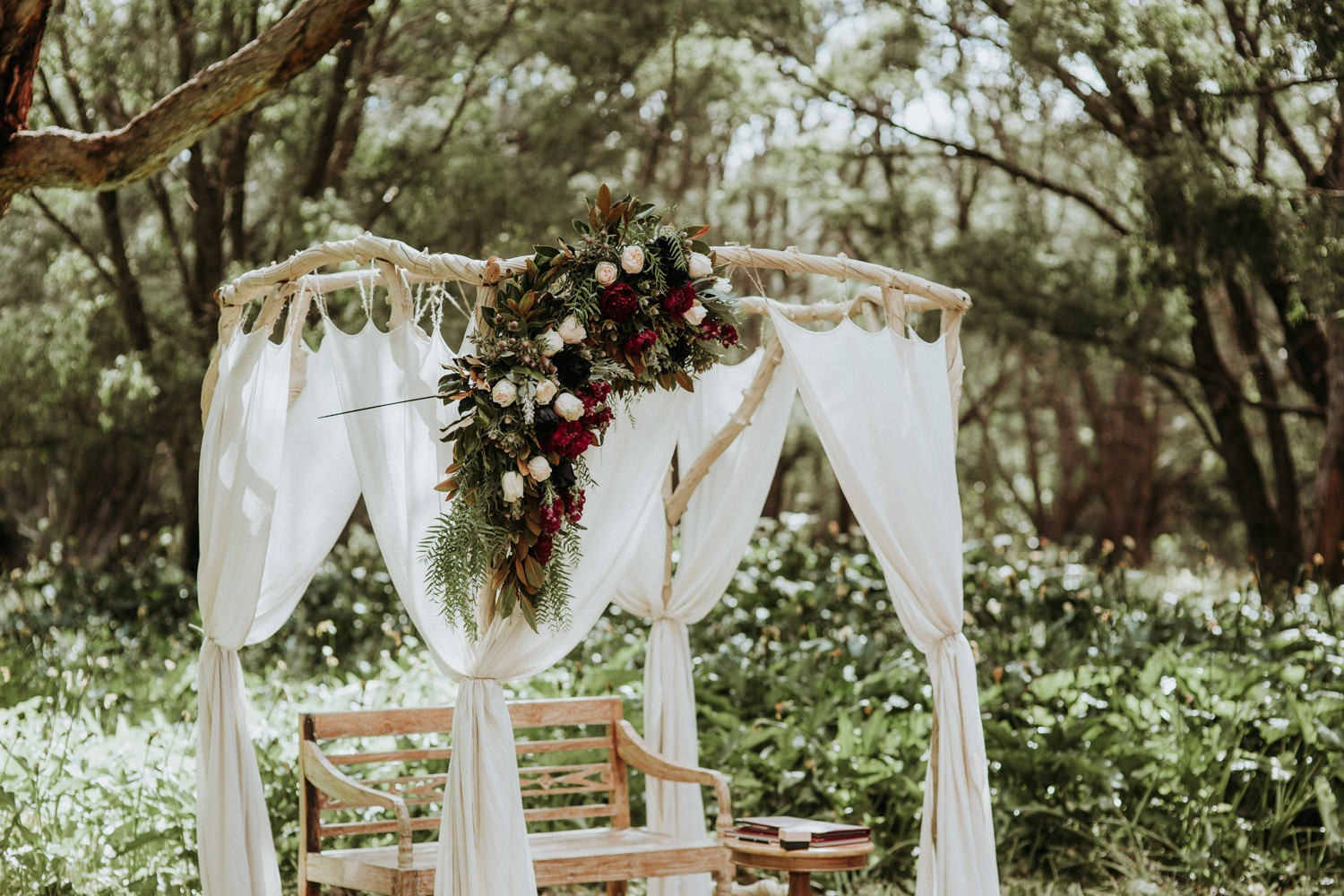 Byron Bay Wedding - Ceremony Details-Wooden Arbour