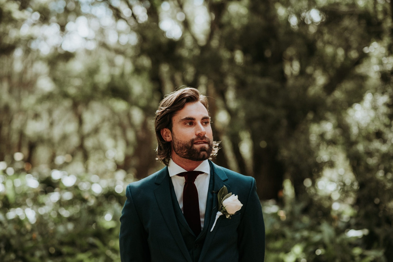 Rustic-Eclectic-Byron-Bay-Wedding-Ceremony-Groom waiting for his bride