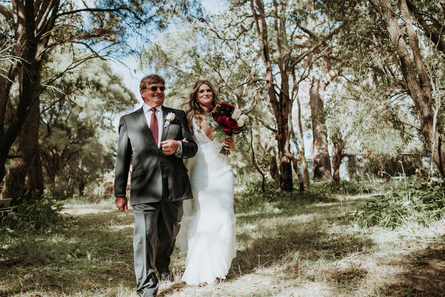 Rustic-Eclectic-Byron-Bay-Wedding-Ceremony- Bride walking down the aisle