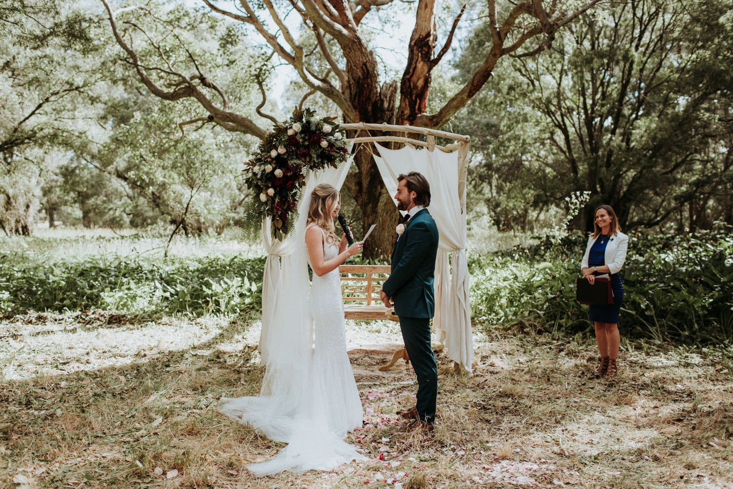 Rustic Eclectic Byron Bay Wedding Ceremony with beautiful styling