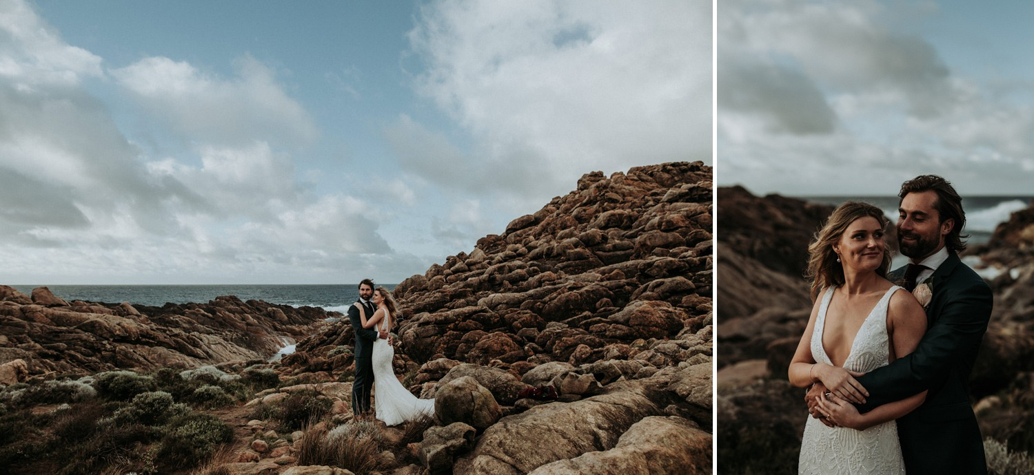 Rugged coastal scenery with couple on their wedding day near Byron Bay