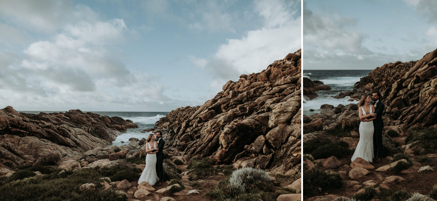 Scenic photo of couple with rocky beach near Byron Bay
