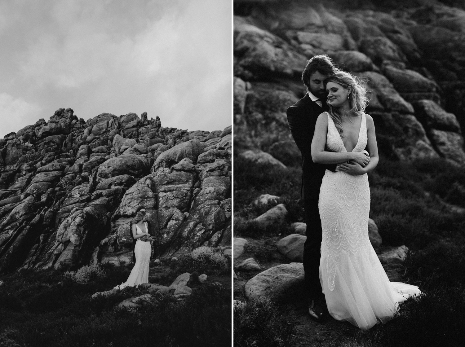Elegant black and white wedding photos on rocky beach near Byron Bay