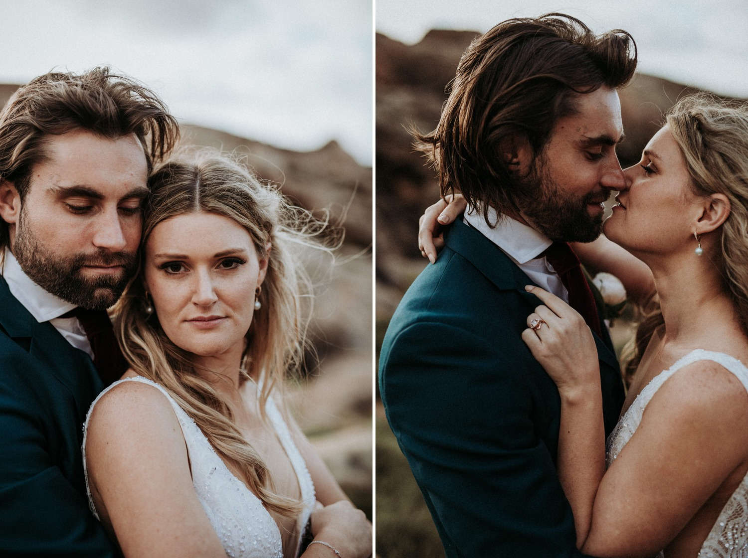 Intimate portrait of couple on their wedding day near Byron Bay at rugged coastal location
