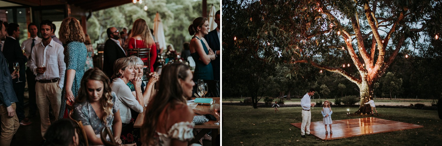 Reception details of guests and dance floor at Byron Bay wedding