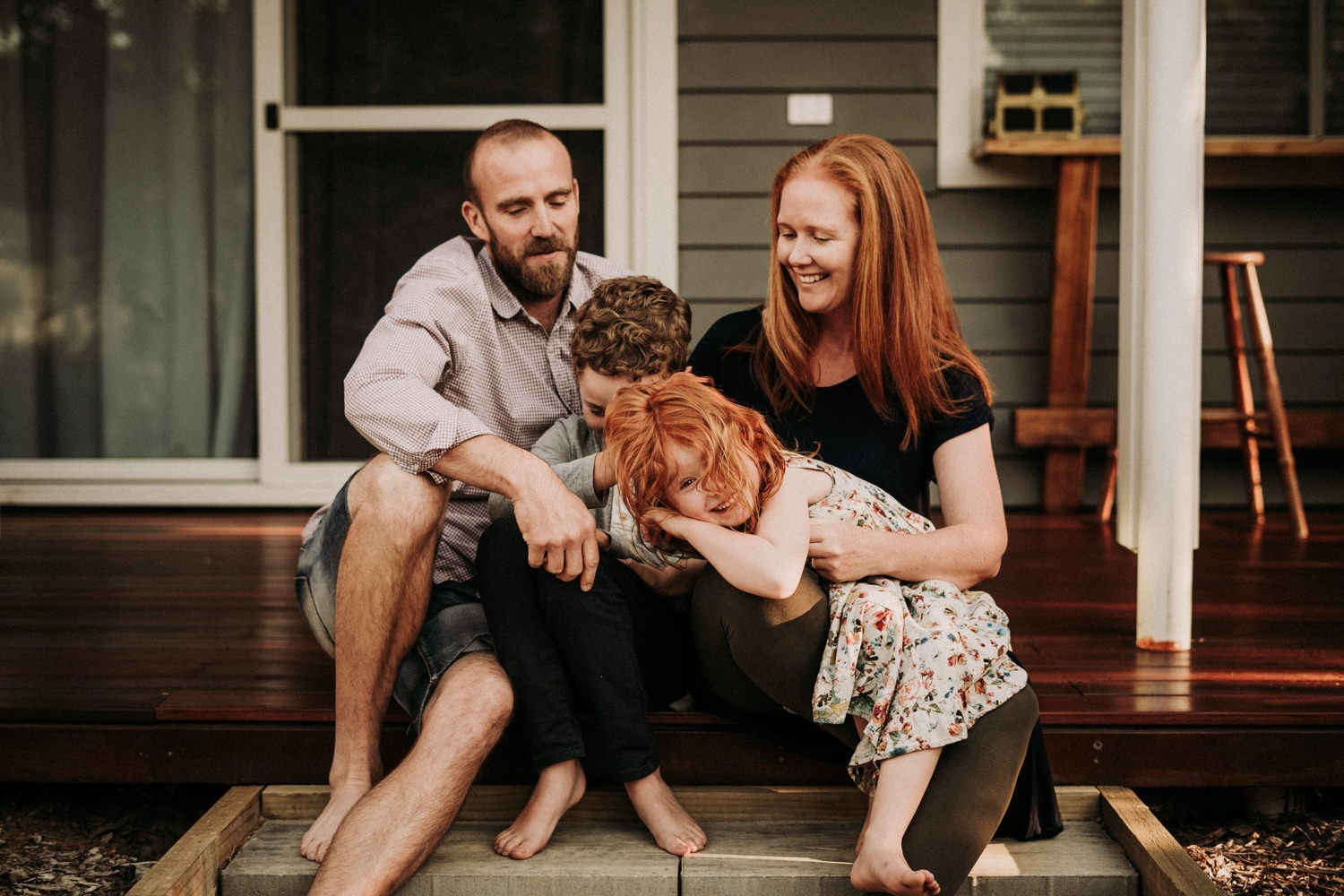 Byron Bay Family Portrait on the veranda of their home