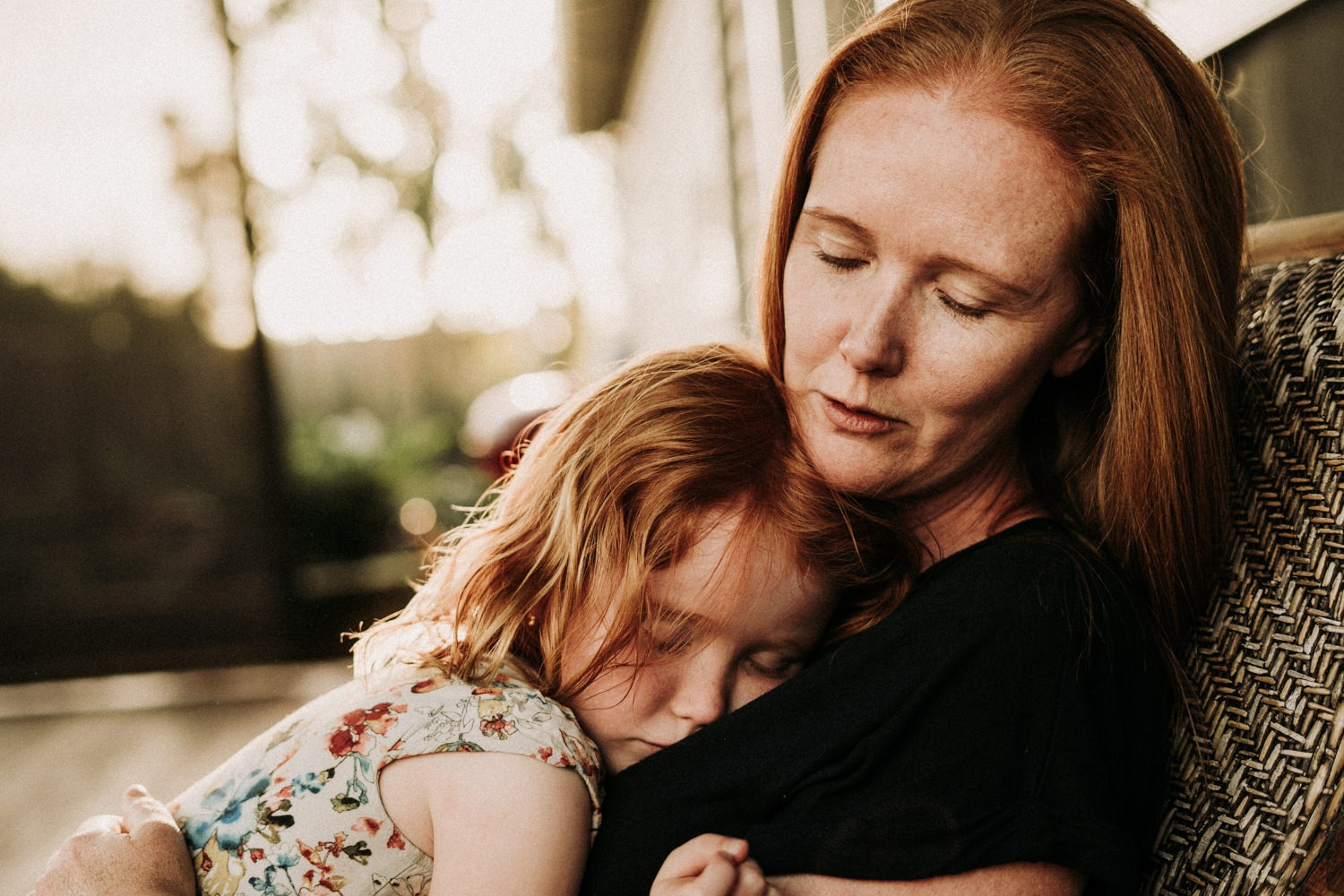 Mother and daughter portrait on the veranda of their Byron Bay home