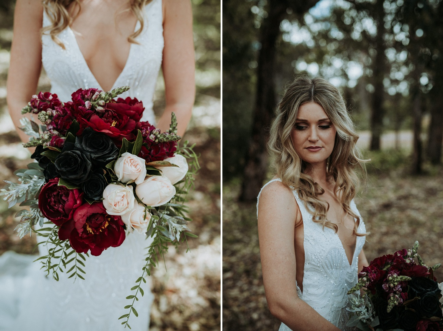 Black roses and peony bouquet